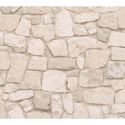 Peelable Morris Beige Natural Stone Wallpaper