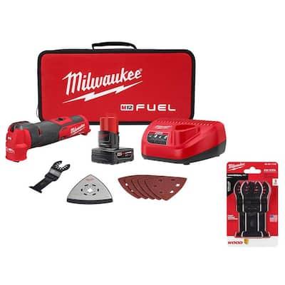 M12 FUEL 12-Volt Lithium-Ion Cordless Oscillating Multi-Tool Kit with Multi-Tool Blade Kit (3-Piece)