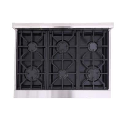 Entree Bundle 36 in. 5.5 cu. ft. Pro-Style Duel Fuel Range Convection Oven and Range Hood in Stainless Steel and Black