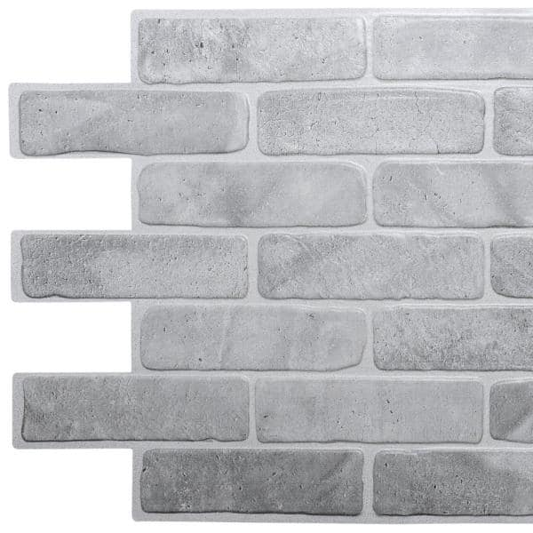 Dundee Deco 3d Falkirk Retro 10 1000 In X 40 In X 19 In Vintage Grey Faux Brick Pvc Wall Panel Tp10014022 The Home Depot