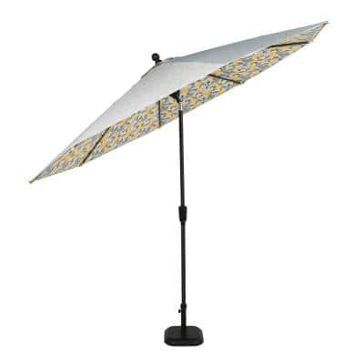 10 ft. Aluminum Auto-Tilt Market Outdoor Patio Umbrella-Dual Sided-Lemons