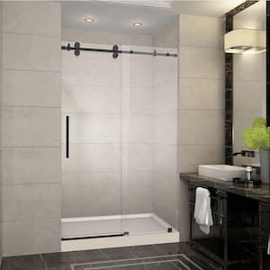 Langham 48 in. x 77.5 in. Completely Frameless Sliding Shower Door in Oil Rubbed Bronze with Left Base