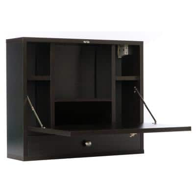 23.5 in. Wide Black Wall Mount Fold Out Office Laptop Writing Desk Table with Storage Shelves and Drawer