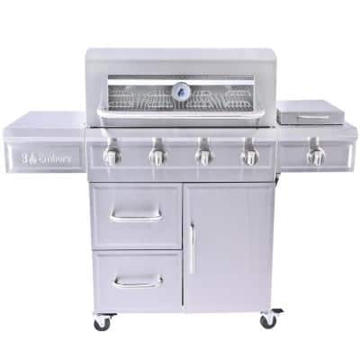 4-Burner Dual Fuel Propane Gas Grill with Radiant Embers Cooking System