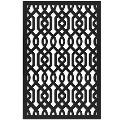 Azzaria 4 ft. x 32 in. Black Vinyl Decorative Screen Panel