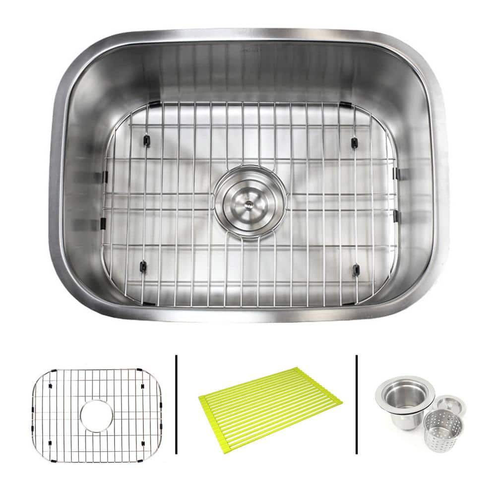 Emoderndecor Undermount 16 Gauge Stainless Steel 23 3 8 In X 17 3 4 In X 9 In Single Bowl Kitchen Sink Combo 16g 964 Pk The Home Depot