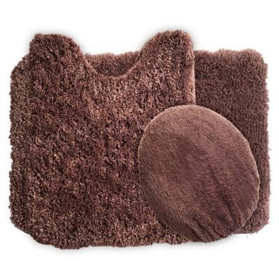 3-Piece 19.5 in. x 24 in. Chocolate Super Plush Non-Slip Bath Mat Set