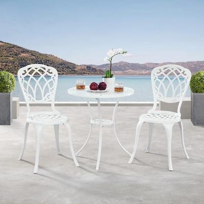 Ornate Traditional White 3-Piece Aluminum Outdoor Patio Garden Bistro Set