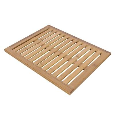 Bamboo Mat Shower Floor Wooden Bath Wood Color