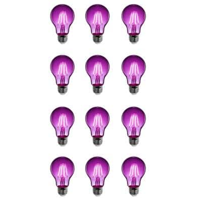 25-Watt Equivalent A19 Medium E26 Base Dimmable Filament Purple Colored LED Clear Glass Light Bulb (12-Pack)