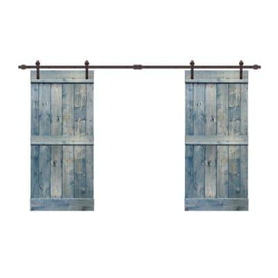 48 in. x 84 in. Mid-Bar Series Denim Blue Stained Solid Pine Wood Interior Double Sliding Barn Door with Hardware Kit