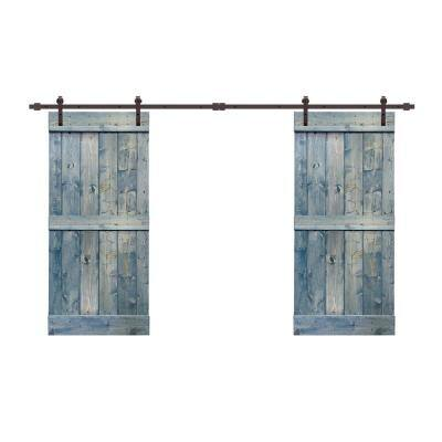 60 in. x 84 in. Mid-Bar Series Denim Blue Stained Solid Pine Wood Interior Double Sliding Barn Door with Hardware Kit