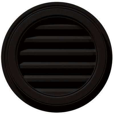 18 in. x 18 in. Round Black Plastic UV Resistant Gable Louver Vent