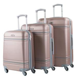 Varsity 3-Piece Rose Gold/Grey Expandable Hardside Spinner Luggage Set