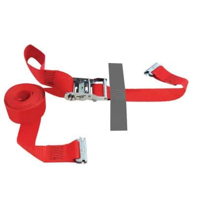 16 ft. x 2 in. Logistic Ratchet E-Strap with Hook and Loop Storage Fastener in Red