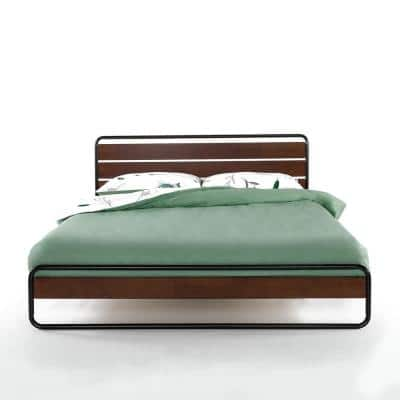 Therese Brown 32 in. Twin Metal and Wood Platform Bed with Wood Slat Support