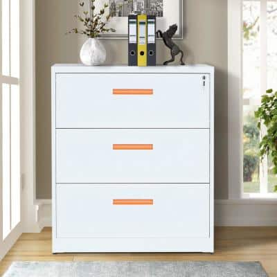 White and Orange 3-Drawers Metal Lateral File Cabinet with Lock