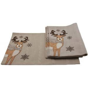 13 in. x 18 in. Cozy Reindeer Christmas Placemats (4-Set)