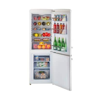 Retro 21.6 in. 7 cu. ft. Bottom Freezer Refrigerator in Marshmallow White, ENERGY STAR
