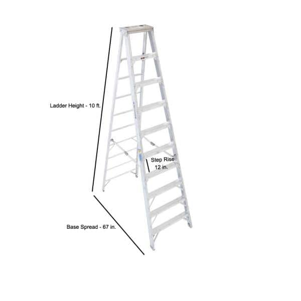 Werner 10 Ft Aluminum Step Ladder With 375 Lb Load Capacity Type Iaa Duty Rating 410 The Home Depot