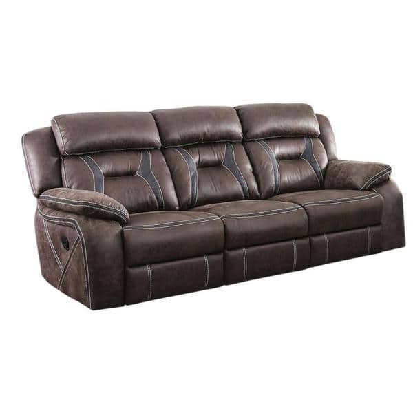 William's Home Furnishing Flint 37.75 in. Brown/Black Solid Leather 3-Seat Motion Sofa with Reclining | The Home Depot