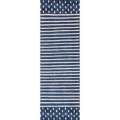 Marlowe Stripes Navy 2 ft. 6 in. x 8 ft. Indoor Runner
