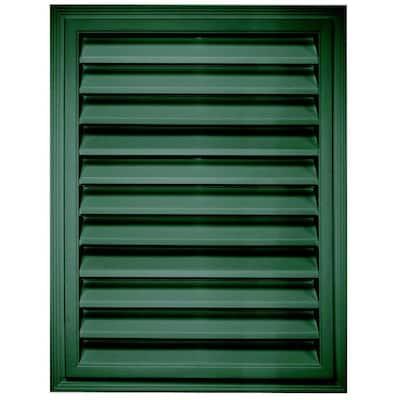 20.2 in. x 26.2 in. Rectangular Green Plastic Built-in Screen Gable Louver Vent