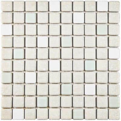 Crystalline Square Pistachio 12 in. x 12 in. Porcelain Mosaic Tile (9.79 sq. ft. / Case)