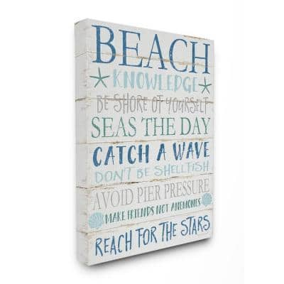 """16 in. x 20 in. """"Beach Knowledge Blue Aqua and White Planked Look Sign Canvas Wall Art"""" by Jennifer Pugh"""