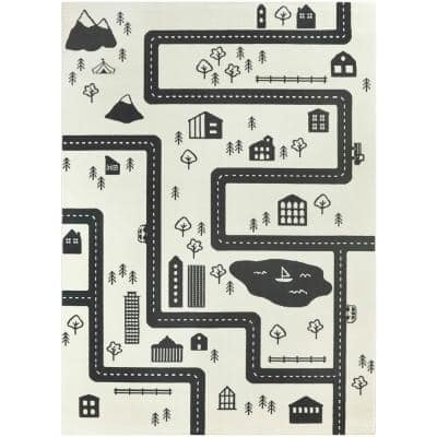 Urban Adventure Road Ivory/Black 4 ft. x 6 ft. Area Rug