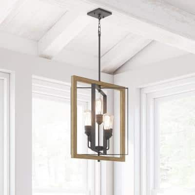 Palermo Grove 5-Light Gilded Iron Pendant with Painted Walnut Wood Accents