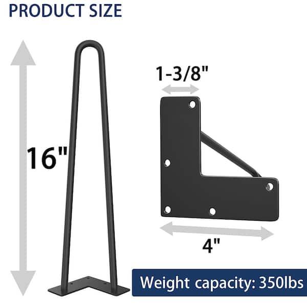 Winsoon 16 In Black Coating Metal, Metal Legs For Furniture Home Depot