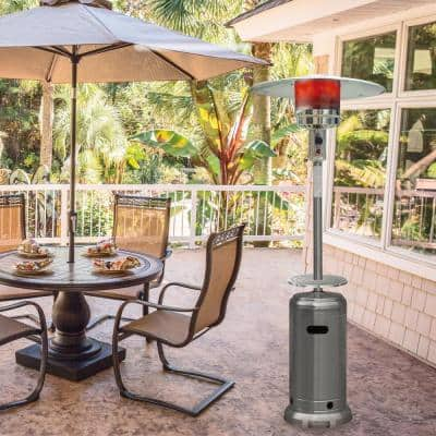 7 ft. 48,000 BTU Stainless Steel Umbrella Propane Patio Heater with Weather-Protective Cover