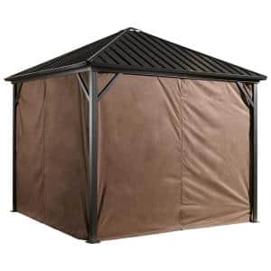10 ft. W x 10 ft. H Curtains (set of 4) for Dakota in Brown with Zippers and Steel Hooks (Gazebo Not Included)