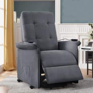 Dark Gray Polyester Fabric Power Lift Recliner Chair with Adjustable Massage