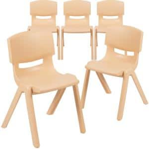 5-Pack Natural Plastic Stackable School Chair with 13.25 in. Seat Height