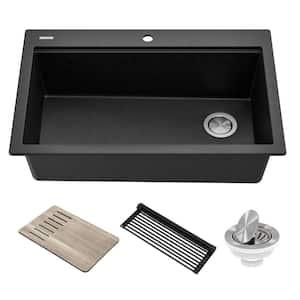 Bellucci Metallic Black Granite Composite 33 in. Single Bowl Drop-In Workstation Kitchen Sink with Accessories