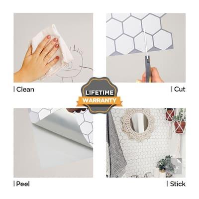 Hexa Mono White 12 in. W x 12 in. H Peel and Stick Self-Adhesive Decorative Mosaic Wall Tile Backsplash (12-Tiles)