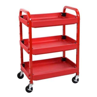 22 in. 3 Shelf Adjustable Utility Cart in Red