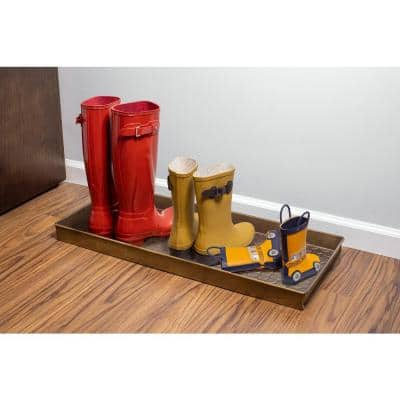 208BR Pebbles 30 in. x 13 in. Brass Boot Tray and Door Mat