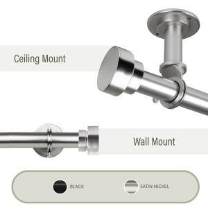 Bonnet Ceiling 66 in. - 120 in. Single Curtain Rod in Satin Nickel with Finial