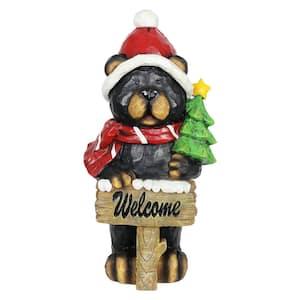 Bear with Christmas Tree Garden Statue