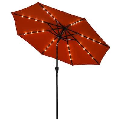 9 ft. Iron Market Solar Tilt Patio Umbrella in Orange