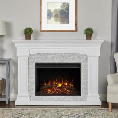 Deland Grand 63 in. Freestanding Wooden Electric Fireplace in White