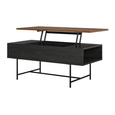 Apison 42 in. Black/Oak Large Rectangle Wood Coffee Table with Lift Top