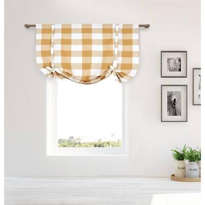 Mocha Gingham Rod Pocket Room Darkening Curtain - 42 in. W x 63 in. L (Set of 2)