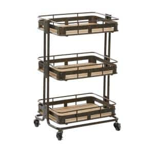 Brown Industrial Metal Storage Cart