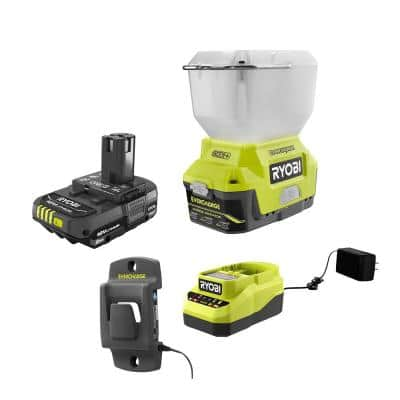 ONE+ 18V Cordless EVERCHARGE LED Area Light and 2.0 Ah Compact Battery and Charger Starter Kit