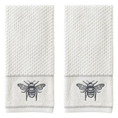 Farmhouse Bee 100% Cotton 2-Pack White Hand Towel
