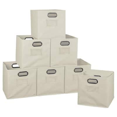 Cheer 12 in. D x  12 in. W x 12 in. H Beige Folding Fabric Bin (12-Pack)
